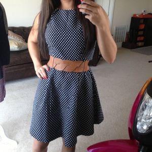 Preppy Polkadot Fit & Flare Dress